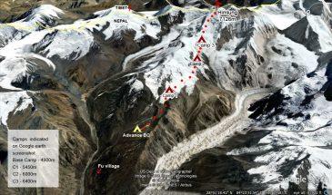 Himlung Climbing Route 2020